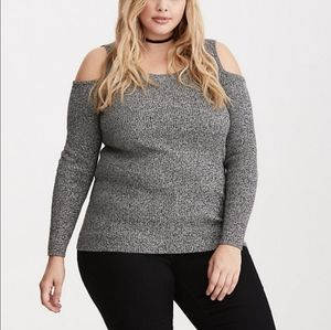 Torrid Gray Marled Knit Cold Shoulder Sweater 5X